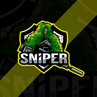 Sniper mascotte logo esport-sjabloon