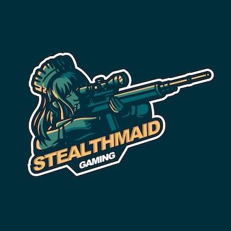 Sniper meid dame overlevende e-sport gaming mascotte logo sjabloon