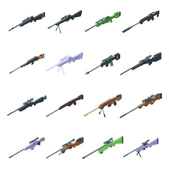 Sniper wapen pictogrammen instellen. isometrische reeks sluipschutterwapenpictogrammen voor web dat op witte achtergrond wordt geïsoleerd