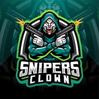 Snipers clown esport mascotte logo ontwerp