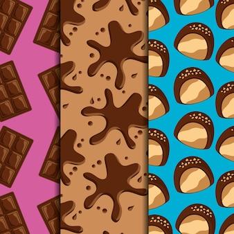 Snoep dessert voedsel chocoladerepen en splash druppels snoepjes verticale banners