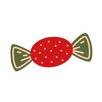 Snoep in rode wikkel met stippen. decoratief vectorelement