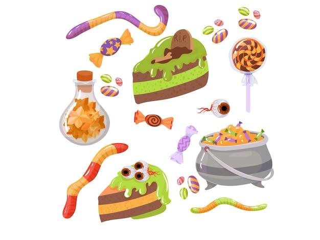 Snoep, kostuums, magische en griezelige items. een grote set elementen voor de viering van halloween. vectorillustratie geïsoleerd op een witte achtergrond.