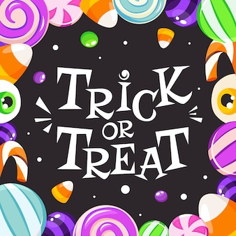 Snoep of je leven. halloween-snoepjes en suikergoed. in vlakke stijl.