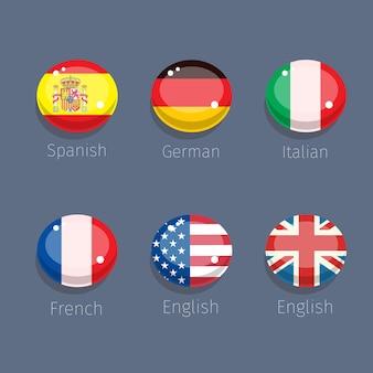 Snoep van taal, talenpictogrammen met vlaggen van landen.