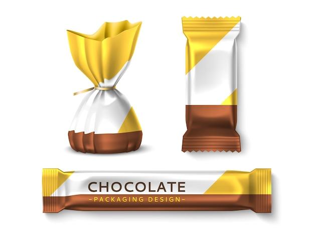 Snoep verpakking ontwerp. realistische snoepverpakkingsmodellen, gesloten snoeptruffels en chocoladerepen, merklabels bonbons-sjabloon voor snackvectorset