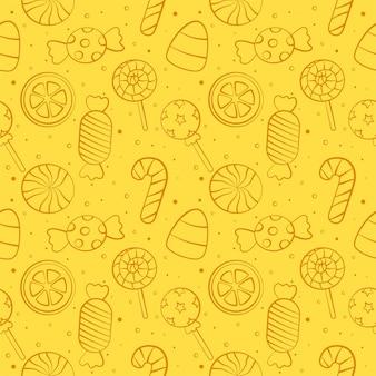 Snoep zoete desserts met grappige gezichten cartoon naadloze patroon met verschillende soorten op gele achtergrond voor café of restaurant.