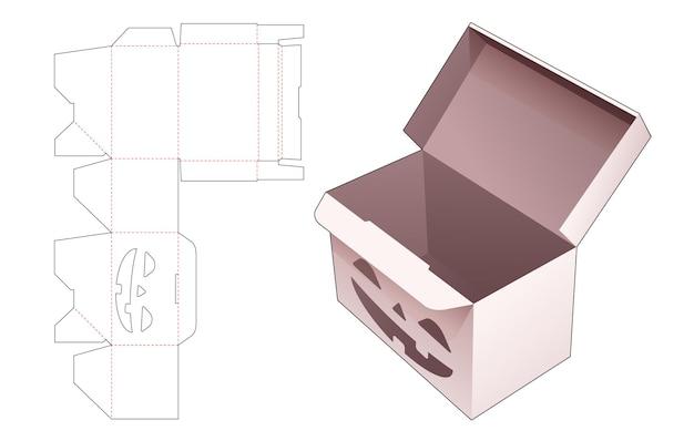Snoepdoos met automatisch vergrendeld punt en gestencild halloween-patroon gestanst sjabloon Premium Vector
