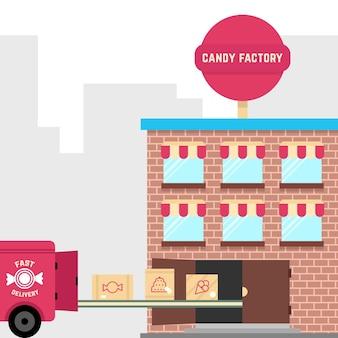 Snoepfabriek met snelle levering. concept van gebak, werkplaats, distributie, transportband, leveren, transportband, productie, zoetwarenapparatuur. vlakke stijl trend modern ontwerp vectorillustratie