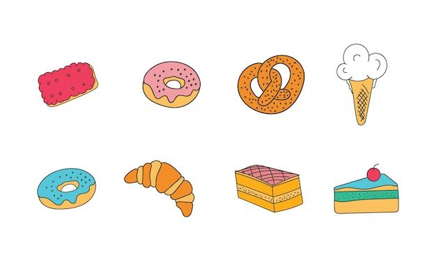 Snoepgoed, koekjes, donut, marshmallows, pizza, cake, dessert, gebak. tarwesoorten, vers broodmeel. bakkerij- en vormbakgereedschap. hand getrokken doodle.