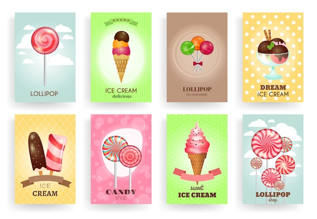 Snoepgoed, lollies en ijsjes. brochures sjablonen set. dessert en snoep, room en chocolade, ontwerp heerlijk smakelijk