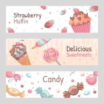 Snoepjes banners instellen. snoepjes, ijs, aardbeienmuffinillustraties