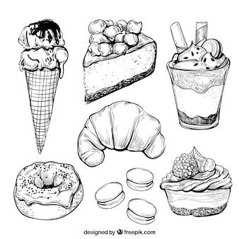 Snoepjes desserts collectie in de hand getrokken stijl