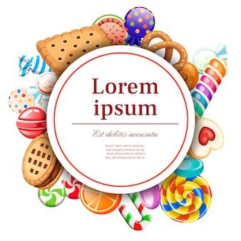 Snoepjes en koekjespatroon. rond kaartontwerp. concept voor kaart en reclame. verpakt en geen lolly's, suikerriet. illustratie op witte achtergrond. witte cirkel met plaats voor uw tekst.