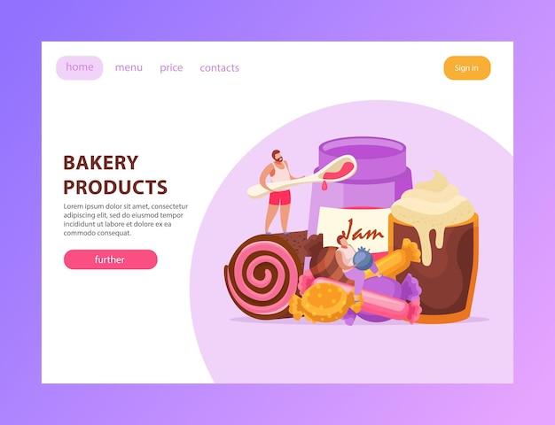 Snoepjes en mensen bestemmingspagina met bakkerijproducten