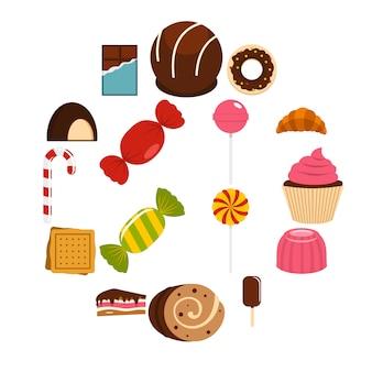 Snoepjes en snoepjes pictogrammen instellen in vlakke stijl