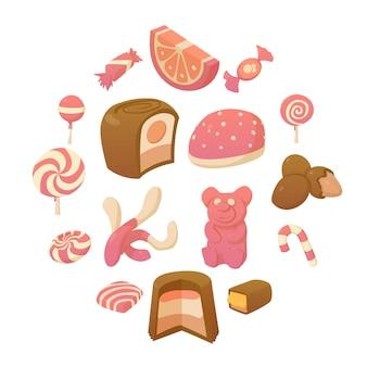 Snoepjes en suikergoed geplaatste pictogrammen, beeldverhaalstijl