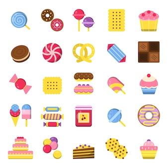 Snoepjes en taartpictogrammen. pannenkoeken snoep chocoladekoekjes en ijs plat gekleurde afbeeldingen