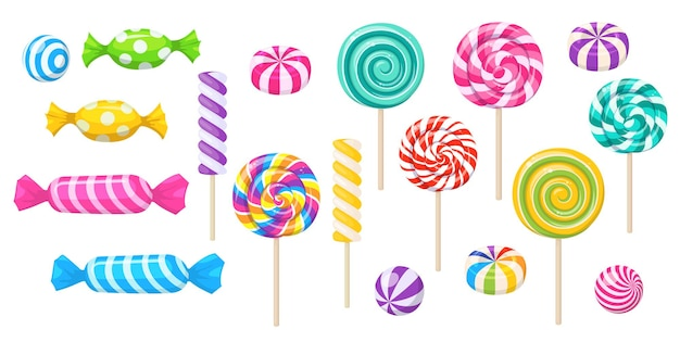 Snoepjes, lolly, suikerkaramel in wikkel, tandvlees en gedraaide marshmallow op stokje. vector set van snoep, spiraal lolly's, gestreepte bonbons en bubblegums geïsoleerd op een witte achtergrond