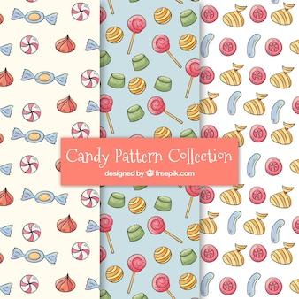 Snoepjes patronen collectie in aquarel stijl