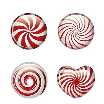 Snoepjes spiraalvormig rood instellen