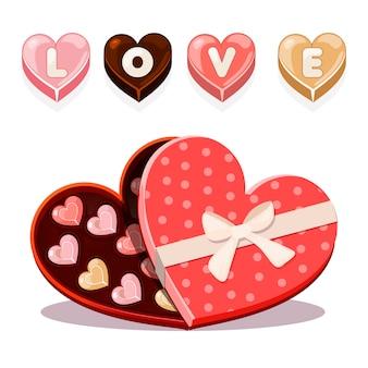 Snoepjes voor valentijnsdag in hartvormig