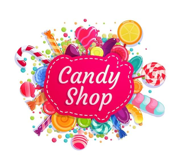 Snoepwinkel, handelswinkelbedrijf dat insignes etiket adverteert. handel identiteit bewegwijzering of sticker, fabriek uithangbord, merk badge met karamel lolly candy cane vectorillustratie geïsoleerd op wit