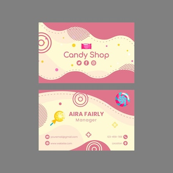 Snoepwinkel horizontale visitekaartjesjabloon