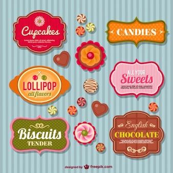 Snoepwinkel retro badges