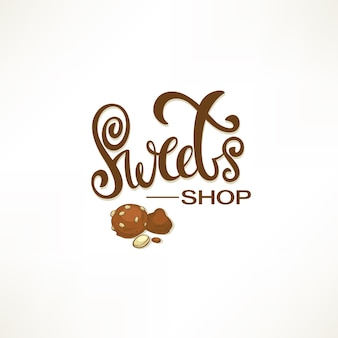 Snoepwinkel, vector belettering logo sjabloon met schets snoep afbeeldingen