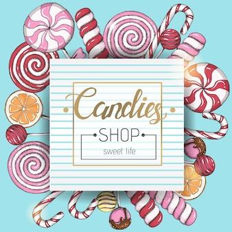 Snoepwinkel, zoet leven. achtergrond met hand getrokken lollys. trendy voedselontwerp. schets, hand getrokken, belettering.