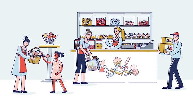 Snoepwinkelinterieur met verkopers en kopers die snoep kopen