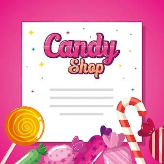 Snoepwinkelkaart met heerlijke karamel