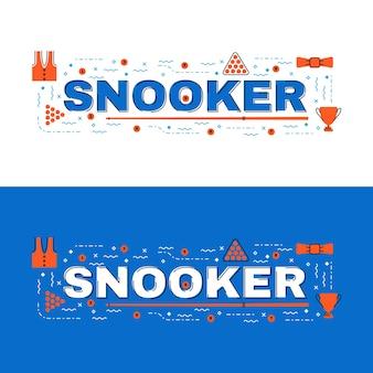 Snookerbanner, snooker die vlak lijnontwerp met pictogrammen van letters voorzien