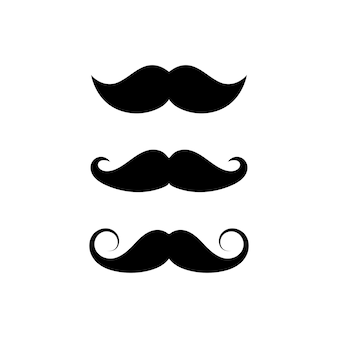 Snor set van drie stijlen. snor teken symbool op witte achtergrond. vectorillustratie eps 10