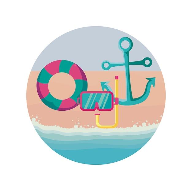 Snorkel met vlotter en anker in strand