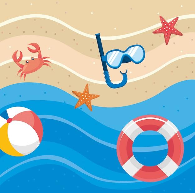 Snorkelmaskers met zeesterren en strandbal met dobber en krab