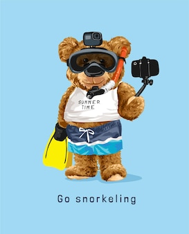 Snorkelslogan met berenpop in snorkelmasker die selfie-illustratie nemen