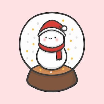 Snowball globe sneeuwman hand getrokken cartoon stijl vector