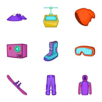 Snowboard iconen set, cartoon stijl