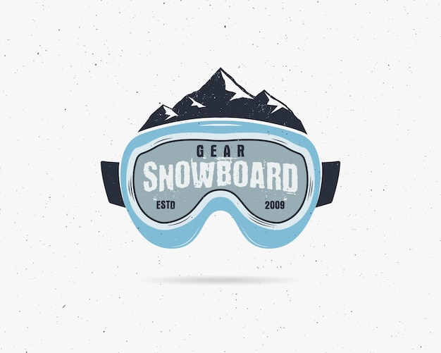 Snowboardbril extreem logo, labelsjabloon. winter snowboard sport winkel badge.