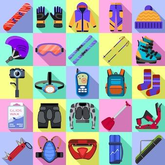 Snowboarden apparatuur pictogrammen instellen. vlakke set van snowboarding apparatuur vector