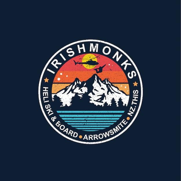 Snowboarden illustratie badge ontwerp
