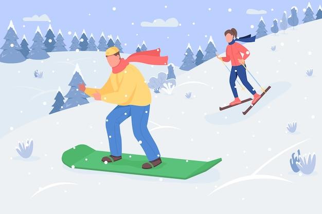 Snowboarden semi platte illustratie