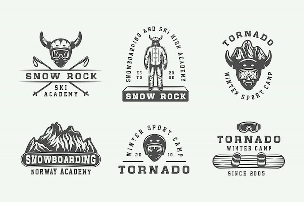 Snowboarden, ski's of logos, badges