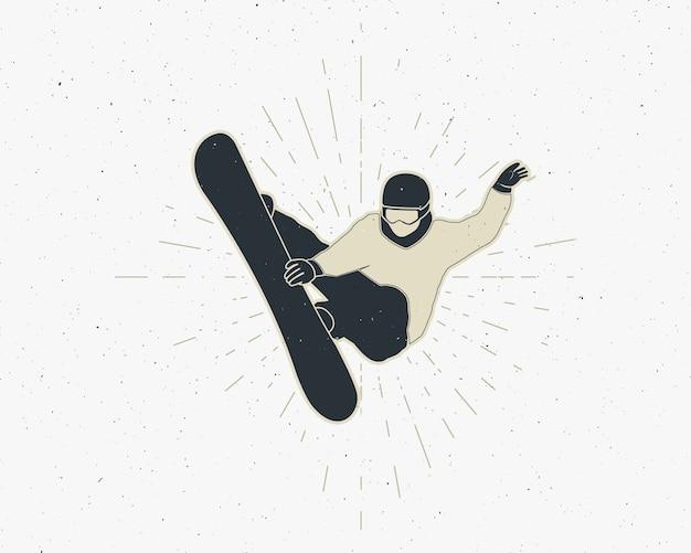 Snowboarden sticker vintage berg ontdekkingsreiziger label outdoor avontuur logo-ontwerp.