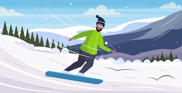 Snowboarder man glijdend overgewicht man snowboarden winteractiviteit gewichtsverlies concept besneeuwde bergen landschap achtergrond horizontale volledige lengte