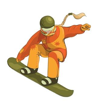 Snowboarder op de witte achtergrond wordt geïsoleerd die.