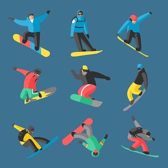 Snowboarder springen in verschillende vormen