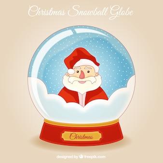 Snowglobe achtergrond met de hand getekende vrolijke kerstman